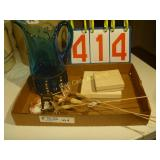 Blue Pitcher and 2 Sandwich Plates - Mixed Lot