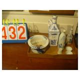 German Blue Oil Jug, Blue and White Pot, Japanese