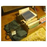 Box of Books and Travel Bag as Shown