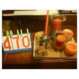 Candle Holders, Ceramic Flick Lighter and Trinket