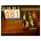 Wood Box with Golf Balls and BBQ Knife Set -
