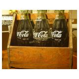6 Pack Unopened Early Coca Cola Bottles in Wood