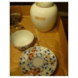 Porcelain Tea Set, Porcelain Saki Warmer, and