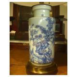 "Porcelain Antique Lamp 28"" Tall with shade -"