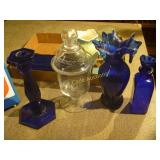 Cobalt Glass and Vase and Misc - Mixed Box Lot