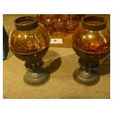 Amber Glass , Candle Holders, Candle Vase - Mixed