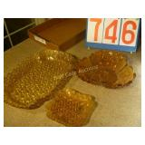 Amber Glass Platters - Lot of 3