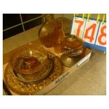 Amber Glass Platter with Oil Lamp - Mixed Lot