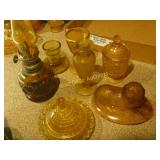 Amber Glass Candle Holders and Cups Mixed Box Lot