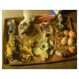Prussia Candle Holder and Various Figurines Mixed