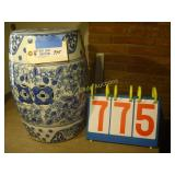 Chinese Glass Rice Patty Seat -Blue Floral Print