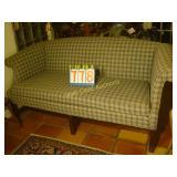 Love Seat - Plaid Print & Wooden Legs - Vintage -