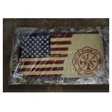 """Wooden Fire Dept. Sign approximately  28""""x17"""""""