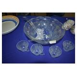 Cut Glass Punch Bowl and Large Platter