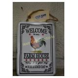 """Rooster Farmhouse tin sign approximately 12""""x9"""""""