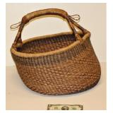 Native American Looking Basket w Leather Handle