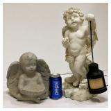2 Outdoor Angel Figurines Resin