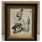 Vintage Windbag Politician Cartoon Framed