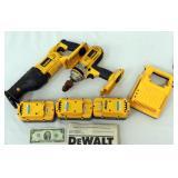 Dewalt Drill & Reciprocating Saw 3 Batteries & Chr