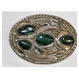 Custom Silver Belt Buckle w Dk Green Stones