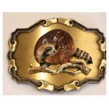 1978 Raintree Brass Belt Buckle w Enameled Raccoon