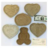 6 Pampered Chef Cookie Molds Heart Bear Sun