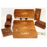 Vintage Wood Decor Pieces Boxes Platters Car