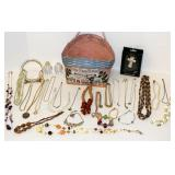 Vintage Jewelry, Mainly Necklaces in Cool Basket