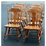 6 Solid Wood Dining Chairs 3 w Arms
