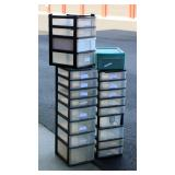 4 Storage Units w Plastic Bins from Old Warehouse