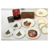 Christmas Plates Ornament Flask & Box