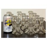 12 New Glass Candle Stick Holders