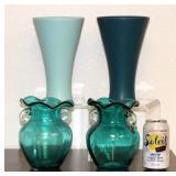 4 Turquoise Glass/Ceramic Vases New Florist