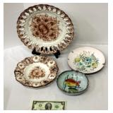 4 Hand Painted & Signed Plates Decor