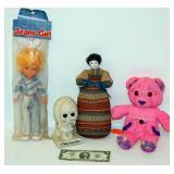 4 Vintage Dolls Figurines Doodle Pet Jean Girl