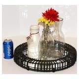 Metal Tray w Mirror Base & 3 Milk Jugs