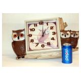 Burlwood Products Vintage Owl Wall Clock 1978