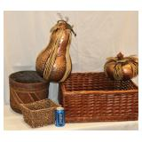 Cute Baskets w Large Metal Fruit Copper Looking