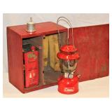 Vintage Coleman 200A Red Lantern in Wood Box