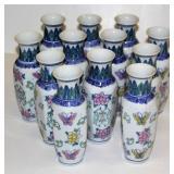 12 Identical Oriental Looking Flower Vases New