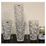 4 Matching Lead Crystal Cut Vases New Bohemia Czec
