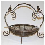New Metal Basket w Birds for Fruit or Flowers