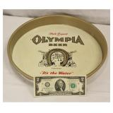 Metal Olympia Beer Round Serving Tray