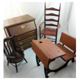 4 Pieces Wood Doll Furniture Chest School Desk