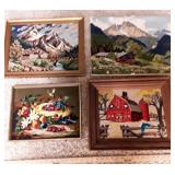 4 Vintage Hand-Made 3 Needlepoint 1 Crewel Picture