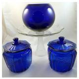 Glass Cake Server Cobalt Blue Vase 2 Apothecary