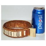 Native Alaskan Quill Leather Belt Wampum Style