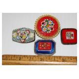 4 Micromosaic Vintage Brooches Pins