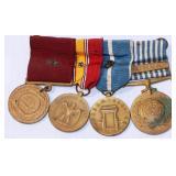 Vintage Bar of 4 US Navy Medals