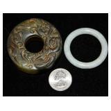 2 Jade Rings Circles - One Carved